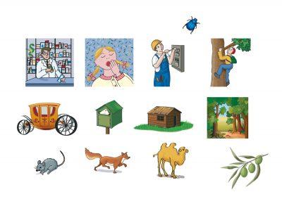 Sélection d'illustrations pour Mon grand dictionnaire d'Anglais illustré - éditions Auzou
