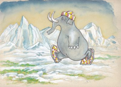 L'éléphant du pôle nord (aquarelle, acrylique).