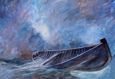 Barque dans la tempête (acrylique ).
