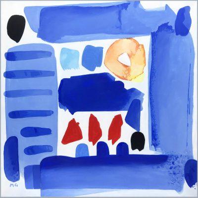 Grand bleu (acrylique sur toile- 100 X 100cm- 2019)