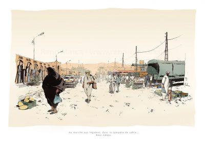 MArché de Beni Abbès, Algérie - DEssin à l'encre et couleur à la palette graphique. Extrait de