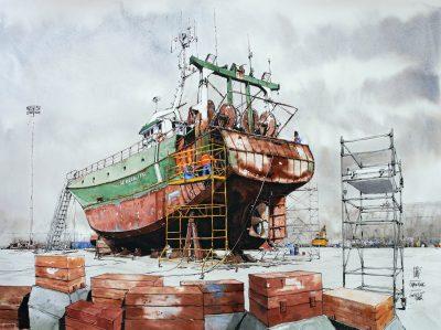 Bateau en cale cèshe au port de Lorient. Crayon et aquarelle