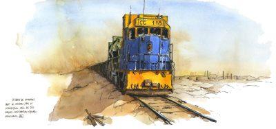 Train de minerai en Mauritanie, crayon et aquarelle. Extrait de