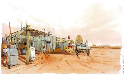 Williamns Creek station, Australie - Crayon et aquarelle - Extrait de